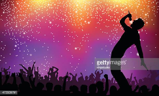 silhouette of singer and crowd on rock concert illustration - singer stock illustrations