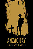 Silhouette of soldier fighting at war, Anzac Day Banner, Vector Illustration
