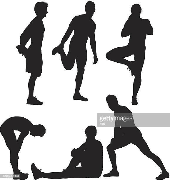 silhouette of sports people exercising - standing on one leg stock illustrations, clip art, cartoons, & icons