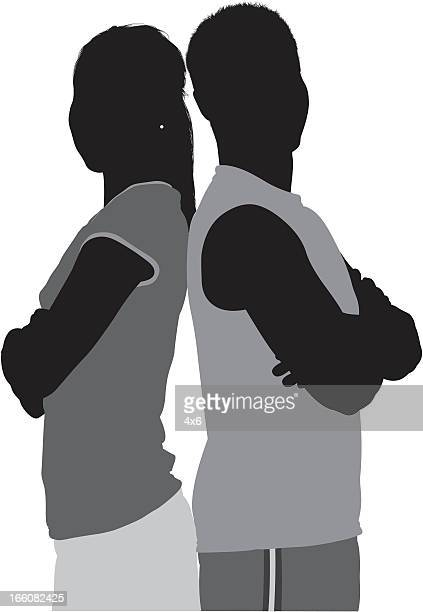 silhouette of sports people standing with their arms crossed - back to back stock illustrations, clip art, cartoons, & icons