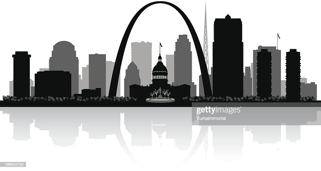 Silhouette of St. Louis city skyline in Missouri