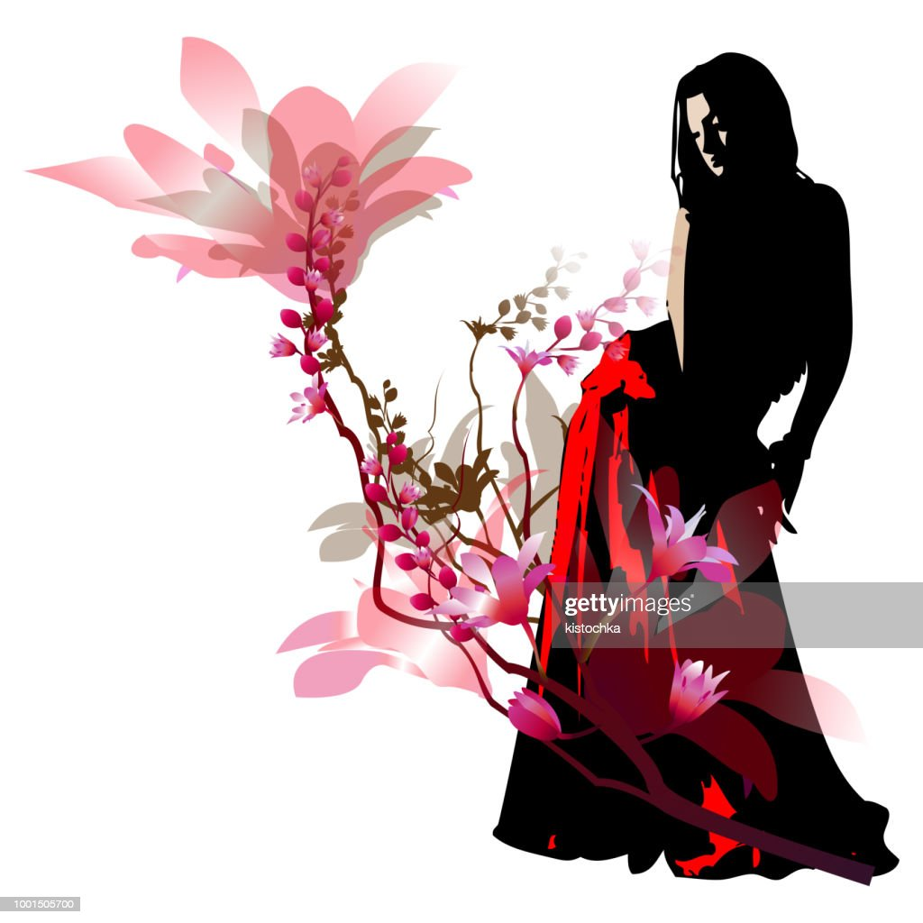 Silhouette of the girl of the dancer