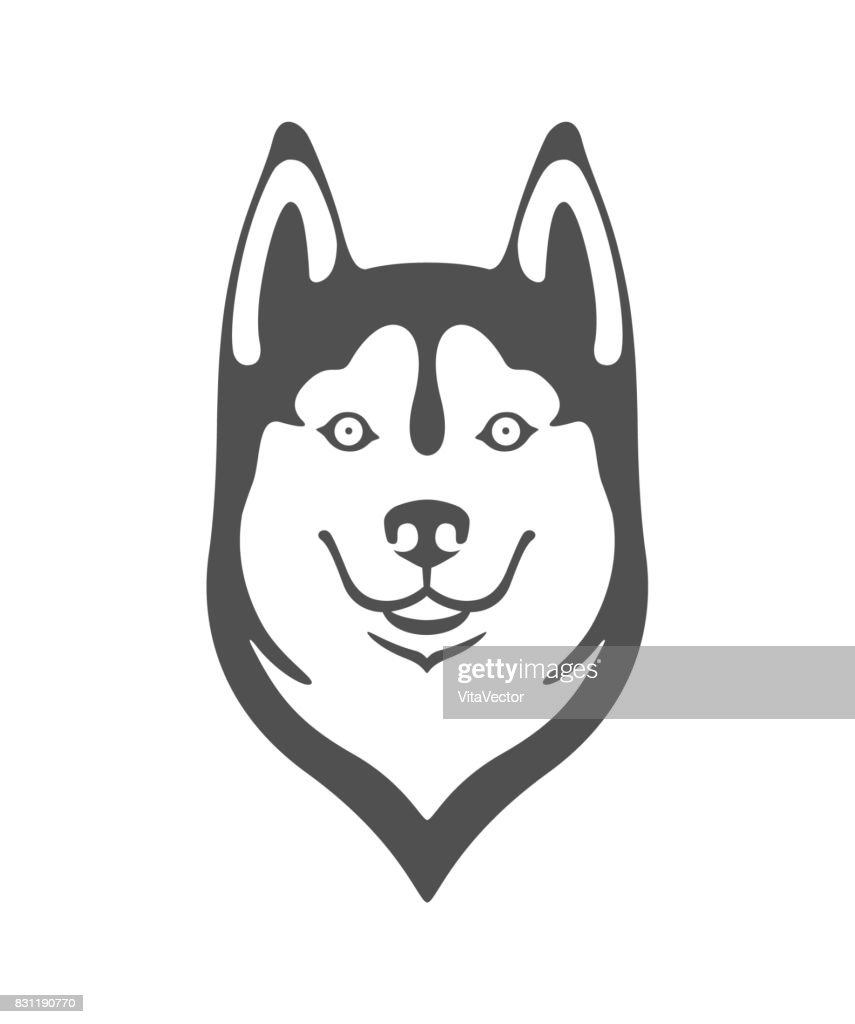 Silhouette of the head of a cheerful and friendly dog of the breed Husky. Black vector isolated on background.