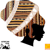 Silhouette of the head of an  black African girl