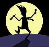 Silhouette of the man with bottle of wine and footed tumbler dancing under the moon illustration