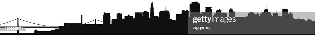silhouette of the san francisco skyline in black vector art getty