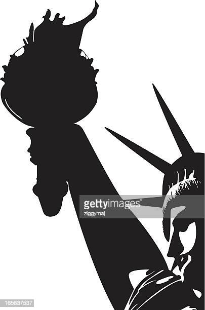 ilustraciones, imágenes clip art, dibujos animados e iconos de stock de estatua de la libertad - estatuadelalibertad
