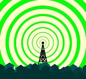 silhouette of tower transmitter