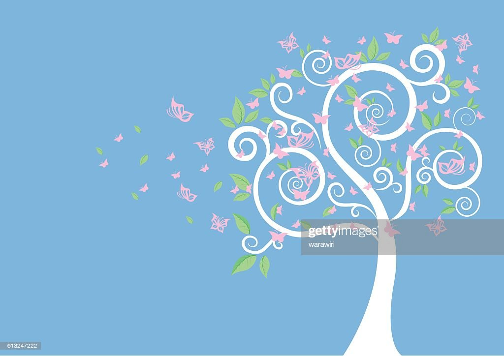 Silhouette Of Tree And Butterflies Vector For Your Design