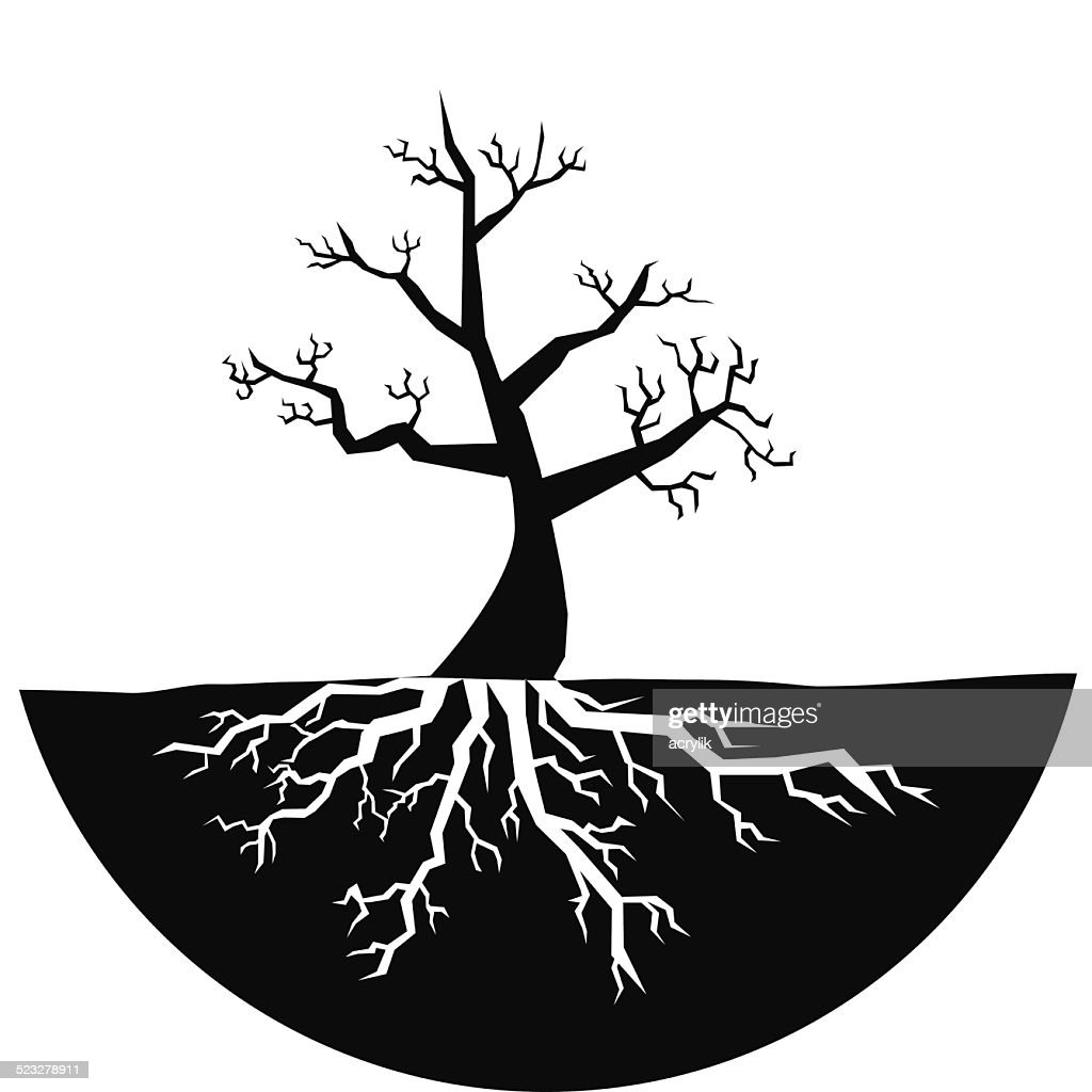 Silhouette of tree with no leaves vector