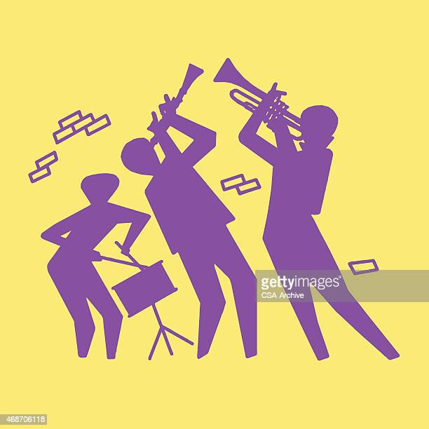Silhouette of Trio Playing