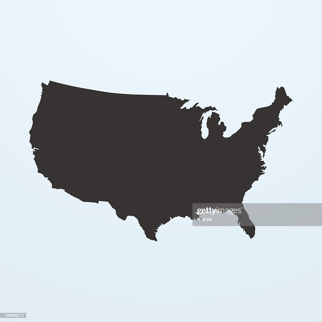 Silhouette of USA Map. United states of America map