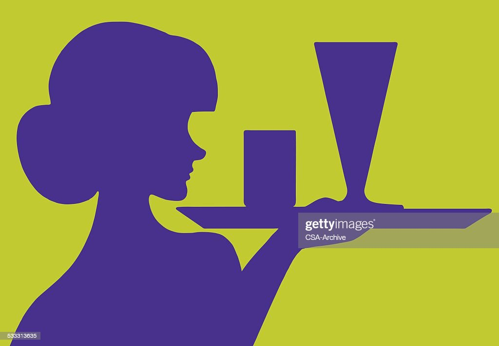 Silhouette of Waitress With Tray