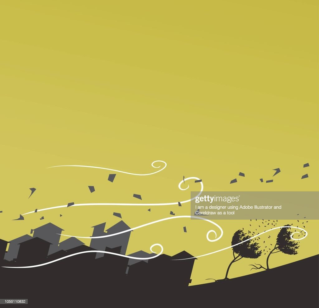 silhouette of windstorm vector illustration