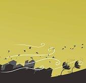 silhouette of windstorm vector illustration