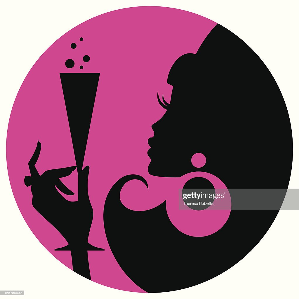 silhouette of woman holding champagne glass over pink