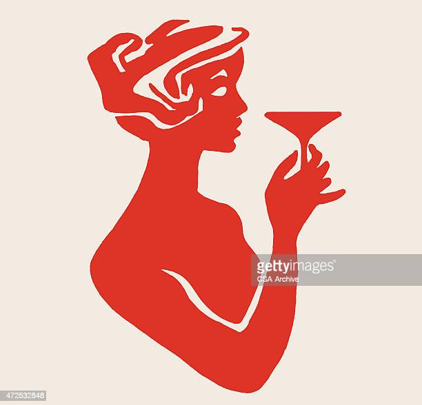 silhouette of woman holdling cocktail - happy hour stock illustrations, clip art, cartoons, & icons