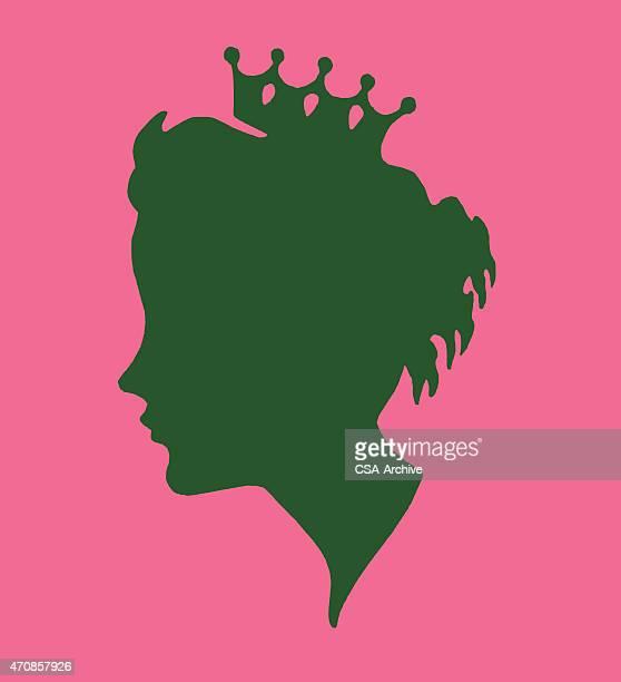 ilustraciones, imágenes clip art, dibujos animados e iconos de stock de silueta de mujer usando una corona - reina de belleza