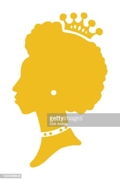 silhouette of woman wearing crown - queen royal person stock illustrations