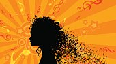 Silhouette of Womans head with Music Hair Background. Stock Vector