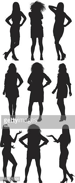 silhouette of women in different poses - hand on hip stock illustrations, clip art, cartoons, & icons