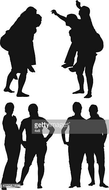 silhouette of women - piggyback stock illustrations, clip art, cartoons, & icons