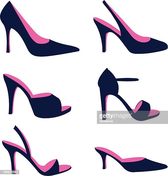 silhouette of women's stiletto dress shoes - high heels stock illustrations