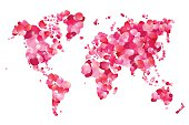 Silhouette of world map of rose petals