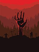 Silhouette of Zombie Hand rising out of the ground.