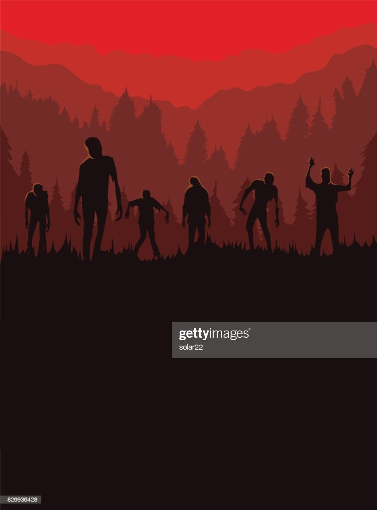 Silhouette of Zombie horde was exiting out of the graveyard at night.