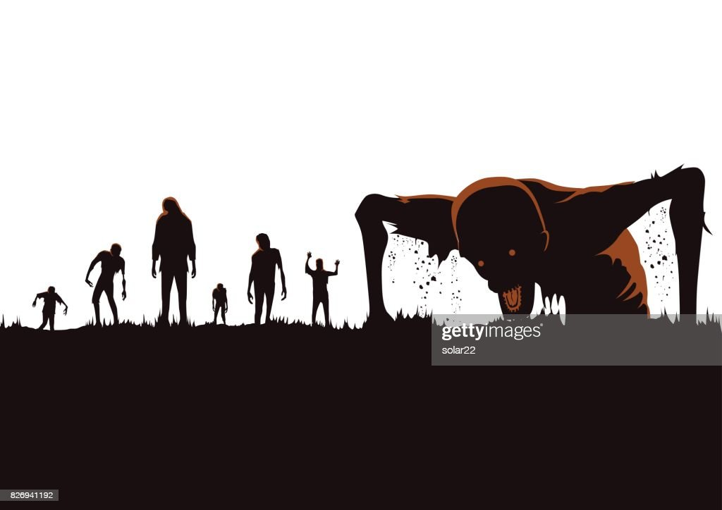 Silhouette of Zombie hordes rising out of the ground.