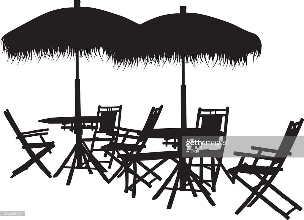 Line Art Umbrella : Silhouette outdoor furniture vector art getty images
