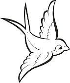 Silhouette outline flying swallow, isolated on white. Vector tattoo illustration.