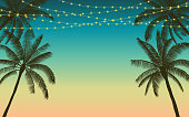 Silhouette palm tree and hanging decorative party lights in flat icon design with vintage color background