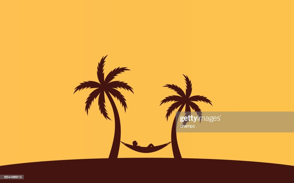 Silhouette palm tree and woman sleeping in hammock