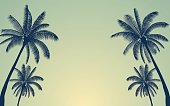 Silhouette palm tree in flat icon design with vintage filter