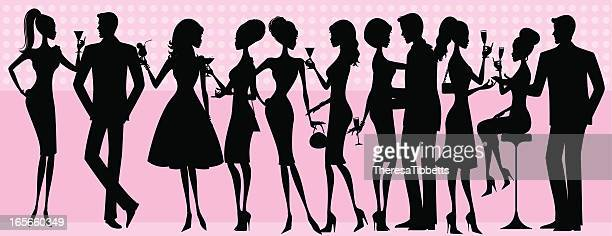silhouette party people - party social event stock illustrations, clip art, cartoons, & icons
