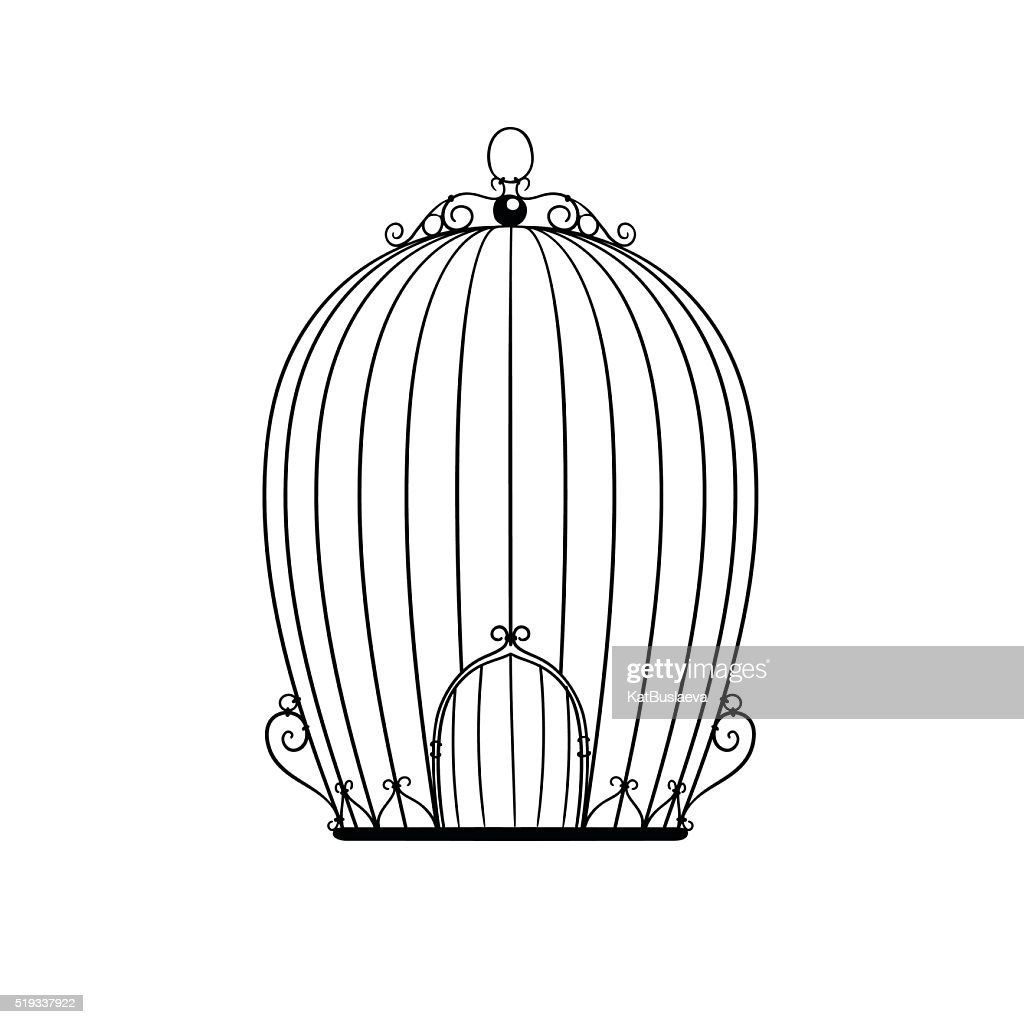 silhouette patterned birdcage