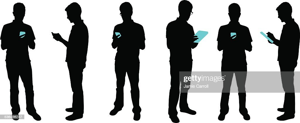 Silhouette people with mobile devices