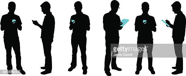 silhouette people with mobile devices - using phone stock illustrations