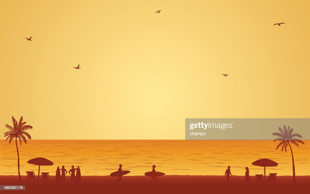 Silhouette people with surfboard on beach under sunset sky background