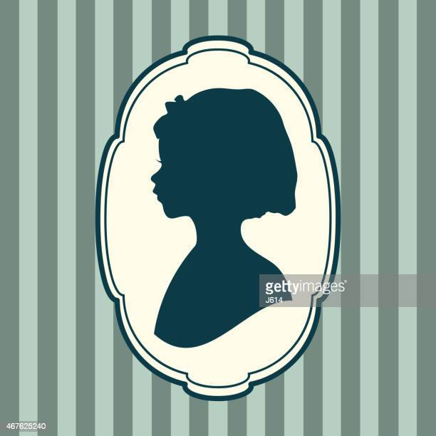 Silhouette portrait of a beautiful girl in profile