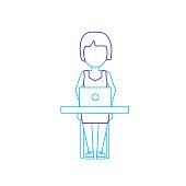 silhouette profesional businesswoman with laptop and corporate job