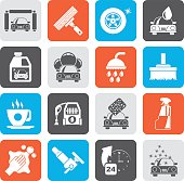 Silhouette Professional car wash objects and icons