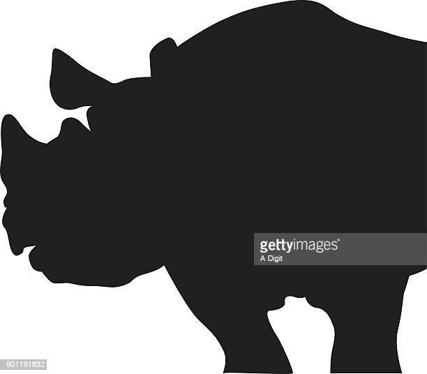silhouette profile of a rhino - shank stock illustrations, clip art, cartoons, & icons