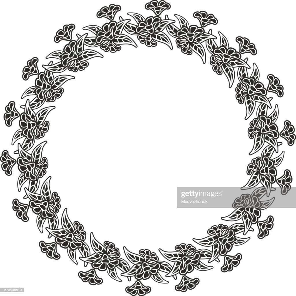 Silhouette round frame with decorative flowers.