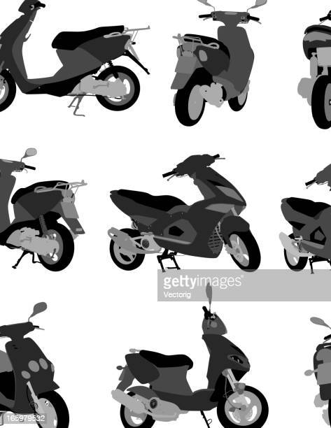 scooter silhouette - moped stock illustrations, clip art, cartoons, & icons