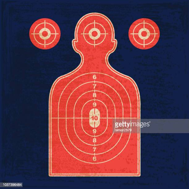 silhouette shooting range gun target - sports target stock illustrations