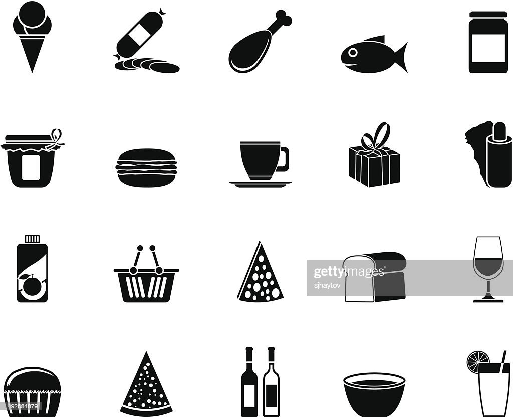 Silhouette Shop and Foods Icons