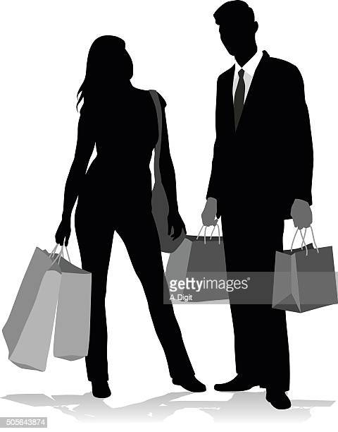 silhouette shopping couple - girlfriend stock illustrations, clip art, cartoons, & icons